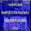 Jeudi 19 avril : manifestation unitaire regionale